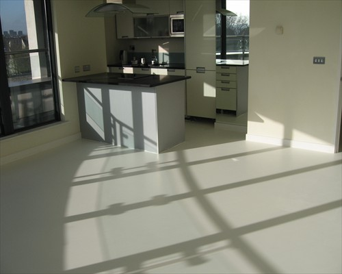 Seamless White Poured Resin Barefoot Comfort Flooring Penthouse Suite London Docklands
